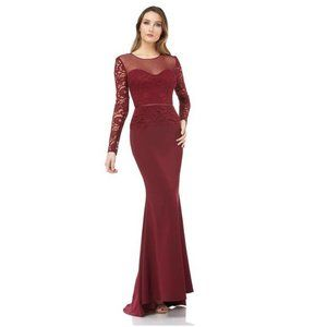 JS Collections 10 Wine Mermaid Gown NWT BJ86